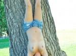 Brunette teen in denim shorts