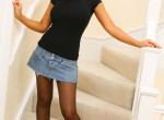 Zoe Morrell - Black t-shirt and denim skirt