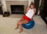 Mature blond April naked with her exercise ball.