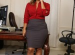 Chubby mature Latina Jamie strips out of her work clothes.