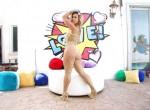 Kelsi Monroe in Yellow Fishnet & Heels