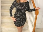 Chubby mature Latina Jamie gets naked on the stairs.