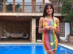 denisse gomez - yellow bikini by the pool