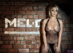 Glamour: Melissa Debling in a fishnet bodysuit and G-string